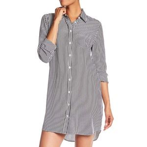 Equipment Button Front Striped Silk Shirt Dress